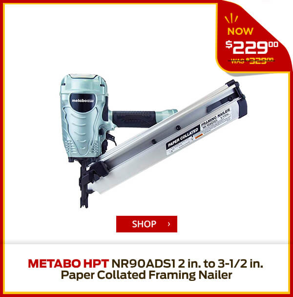 Shop Metabo HPT NR90ADS1 2 in. to 3-1/2 in. Paper Collated Framing Nailer