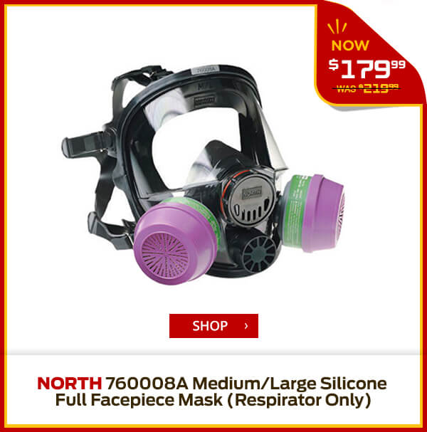 Shop North 760008A Medium/Large Silicone Full Facepiece Mask (Respirator Only)