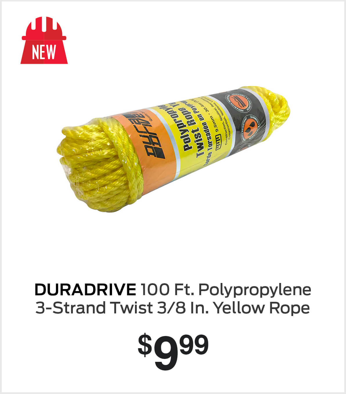 Shop Duradrive Polypropylene 3-Strand Twist 3/8 In. Yellow Rope 100 Ft.