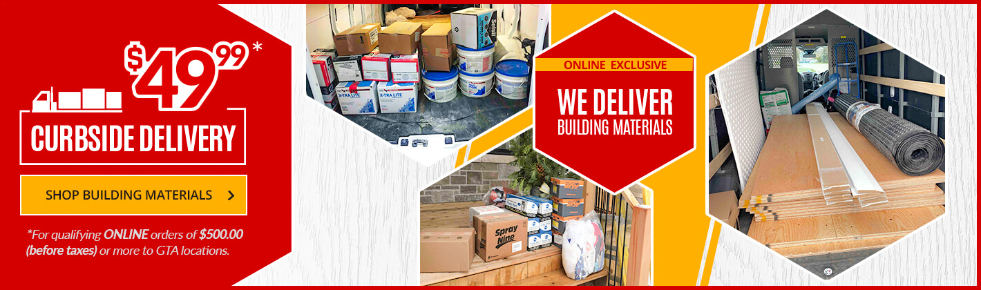 Shop our Building Materials with Curbside Delivery option