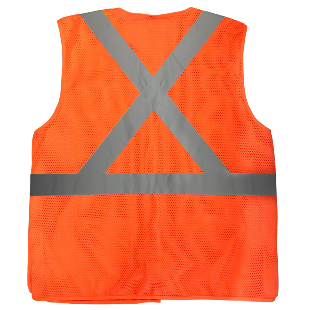 DuraDrive Men's Orange Hi-Vis Class 2 Level 2 Knitted Mesh Break-Away Safety Vest with Pockets