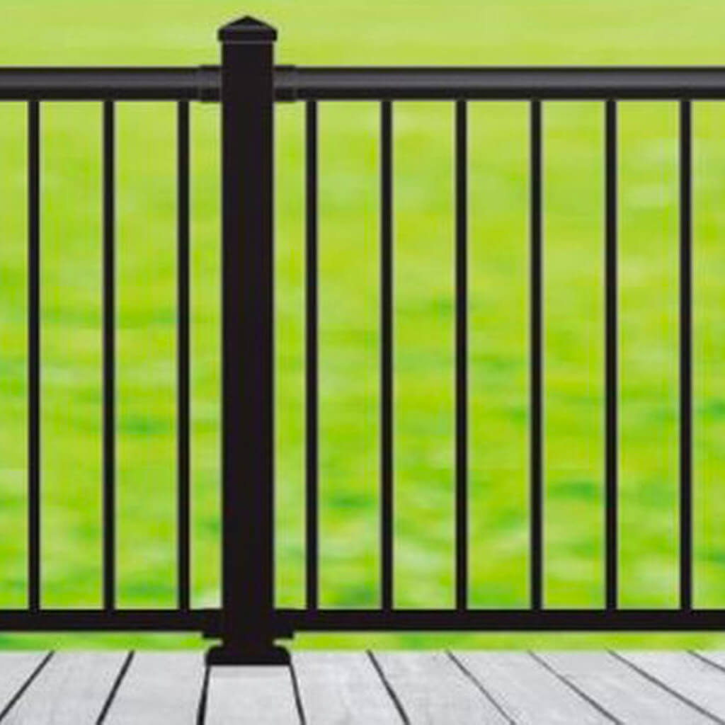 Image of: Nuvo Iron Blsark642d 6 Ft X 42 In Black Aluminum Deck Railing Kit Investments Hardware Limited