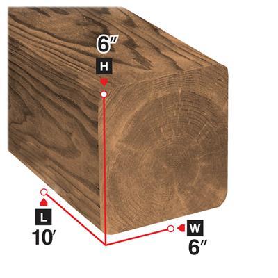 6 in  x 6 in  x 10 ft  Brown Pressure Treated Lumber