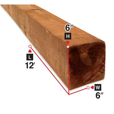6 in  x 6 in  x 12 ft  Brown Pressure Treated Lumber