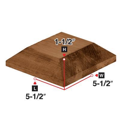 5-1/2 in  x 1-1/2 in  Brown Pressure Treated Wood Bevelled Post Cap
