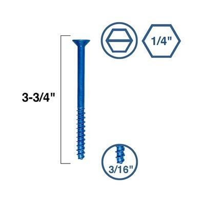 1//4 x 1 3//4 Simpson Hex Head Titen 2 Concrete and Masonry Screw Blue Box 100