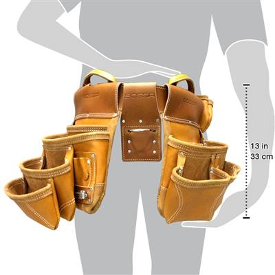 BOSSA 17-Pocket Brown Full Grain Leather Premium Combo Tool Pouch