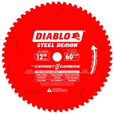 Freud Diablo D1260CF Steel Demon 12 in. 60-Tooth Cermet Carbide Tipped Metal and Stainless Steel Cutting Saw Blade