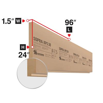 SOPRA XPS-30 1-1/2 in. x 24 in. x 96 in. Shiplap Four-Edge Extruded Polystyrene Rigid Insulation